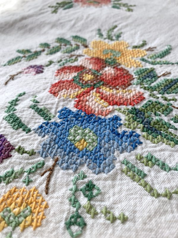 Vintage Floral Cross Stitched Cover
