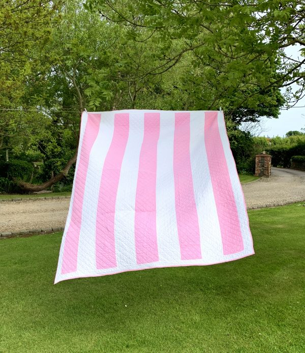 Vintage Pink and White Striped Quilt C1930/40's